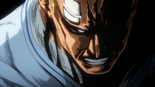 Injured All Might from the anime series My Hero Academia season 4
