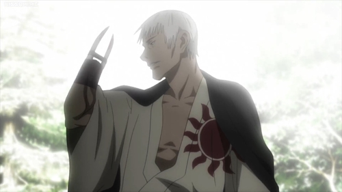 Shira holding up his severed arm from the anime series Blade of the Immortal