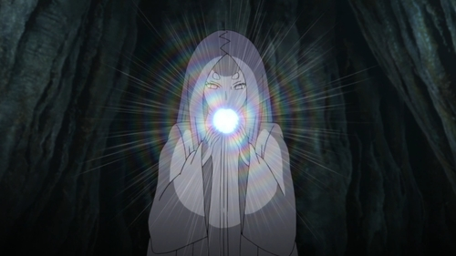 Kaguya Ōtsutsuki eating the chakra fruit from the anime series Naruto: Shippūden