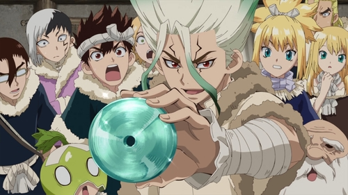 Senku showing off a glass record to the Ishigami Villagers from the anime series Dr. Stone