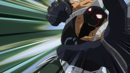 Rikiya Katsukame punching from the anime series My Hero Academia season 4