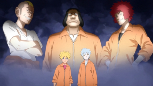 Boruto, Mitsuki, and their three cellmates from the anime series Boruto: Naruto Next Generations