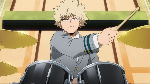 Bakugo playing the drums from the anime series My Hero Academia season 4