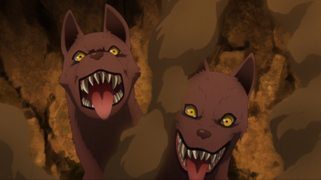 Benga's two-headed hound summon from the anime series Boruto: Naruto Next Generations