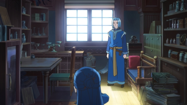 The head priest's secret room from the anime series Ascendance of a Bookworm season 2