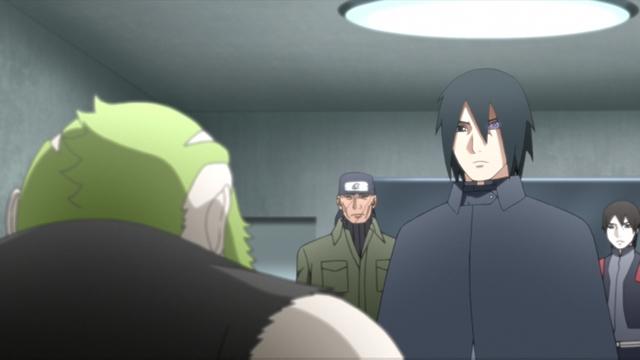 Shojoji being interrogated by Sasuke, Ibiki, and Sai from the anime series Boruto: Naruto Next Generations