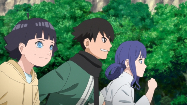 Himawari, Ehou, and Yuina starting their trial session from the anime series Boruto: Naruto Next Generations