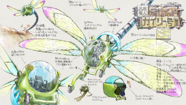 Asakusa's dragonfly ship design from the anime series Keep Your Hands Off Eizouken
