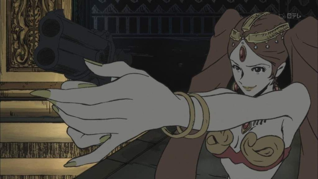 Fujiko pointing a gun at Lupin from the anime series Lupin the Third: The Woman Called Fujiko Mine