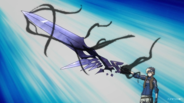 Ray Starling holding Nemesis in sword form from the anime series Infinite Dendrogram