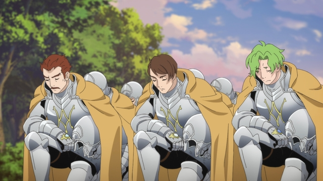 The knight order bowing to Sir Ferdinand from the anime series Ascendance of a Bookworm season 2