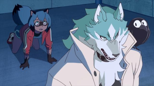 Michiru, Shirou, and Kuro from the anime series BNA: Brand New Animal
