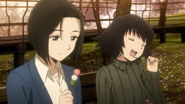 "Haru and Shinako eating dango from the anime series Sing ""Yesterday"" for Me"