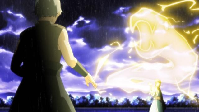 Mitsuki using his Snake Lightning jutsu against Samidare from the anime series Boruto: Naruto Next Generations
