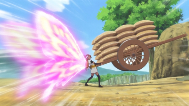 Chouchou using her super butterfly mode to protect the azuki beans from the anime series Boruto: Naruto Next Generations
