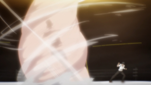 Daewi creating a tornado by stepping forward from the anime series The God of High School