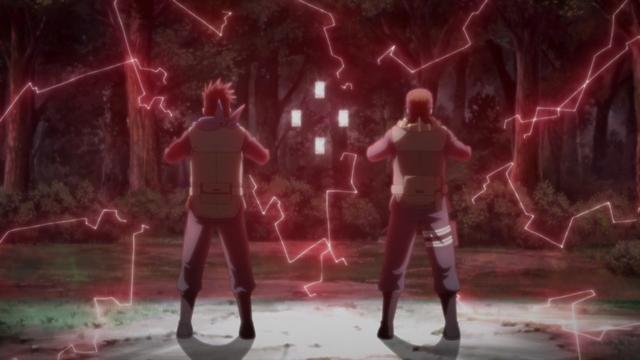 Konohamaru and Mugino releasing the barrier from the anime series Boruto: Naruto Next Generations