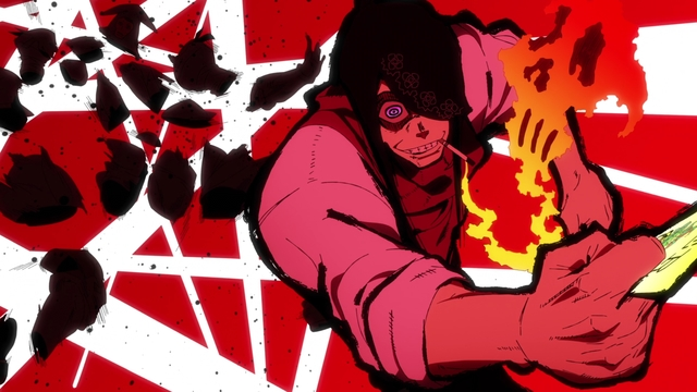 Joker using a finishing move from the anime series Fire Force season 2