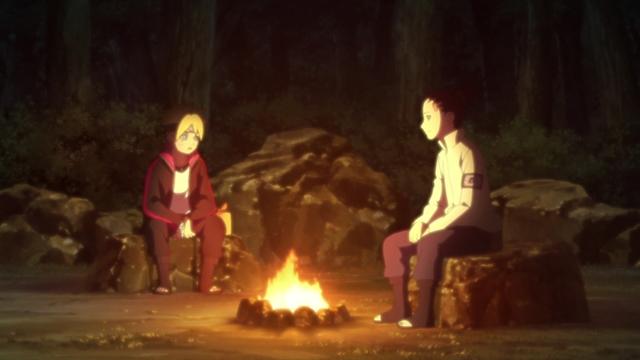 Boruto and Shikadai camping from the anime Boruto: Naruto Next Generations
