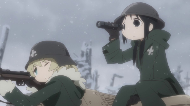 Chito spotting for Yuuri's target practice from the anime series Girls' Last Tour