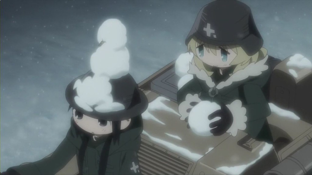 Yuuri making a snowman on Chito's head from the anime series Girls' Last Tour