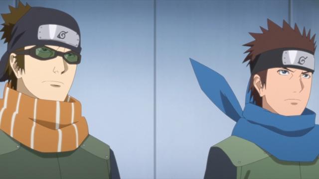 Konohamaru and Mugino from the anime series Boruto: Naruto Next Generations