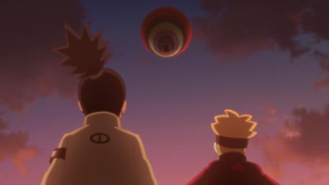 Boruto and Shikadai watching Denki's hot air balloon from the anime series Boruto: Naruto Next Generations
