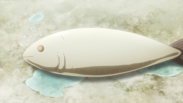 A dead fish from the anime series Girls' Last Tour