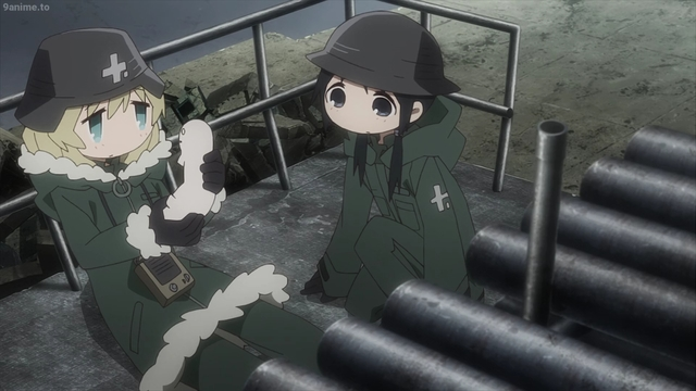 "Yuu and Chi find a ""cat"" from the anime series Girls' Last Tour"