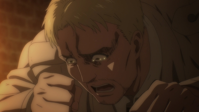 Reiner apologizing to Eren from the anime series Attack on Titan: The Final Season