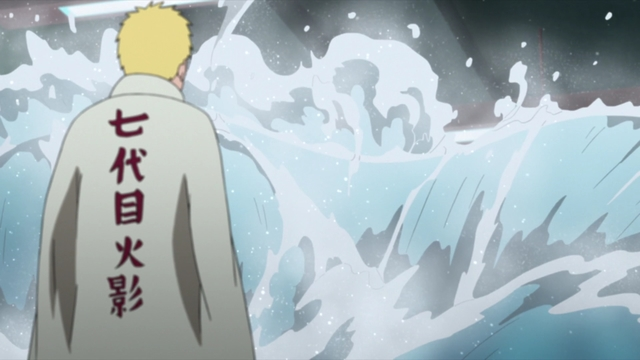 Naruto facing Boruto's water style jutsu from the anime series Boruto: Naruto Next Generations