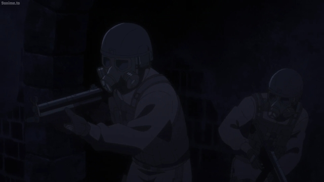 The assault team infiltrating the bunker from the anime series The Promised Neverland 2nd Season