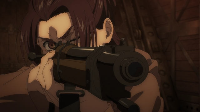 Gabi aiming a rifle from the anime series Attack on Titan: The Final Season