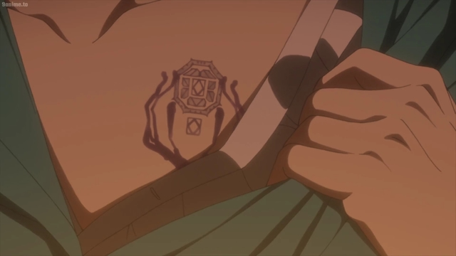 Norman's Lambda 7214 tatoo from the anime series The Promised Neverland 2nd Season