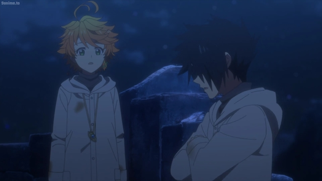 Emma and Ray talking about killing the demons from the anime series The Promised Neverland 2nd Season