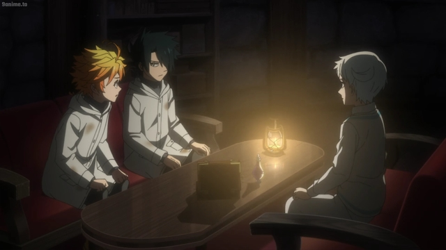 Emma, Ray, and Norman talking about the demons from the anime series The Promised Neverland 2nd Season