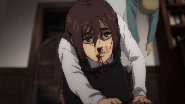 Gabi after getting beat up by Nicolo from the anime series Attack on Titan: The Final Season