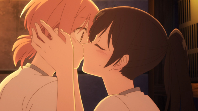 Touko kissing Yuu in the gym shed from the anime series Bloom Into You