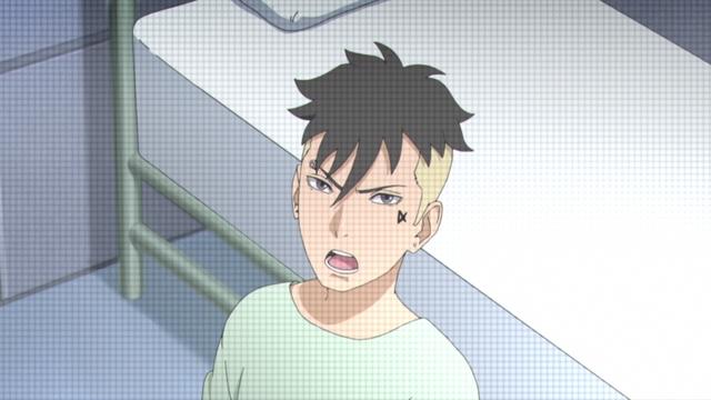 Kawaki on a surveillance monitor from the anime series Boruto: Naruto Next Generations
