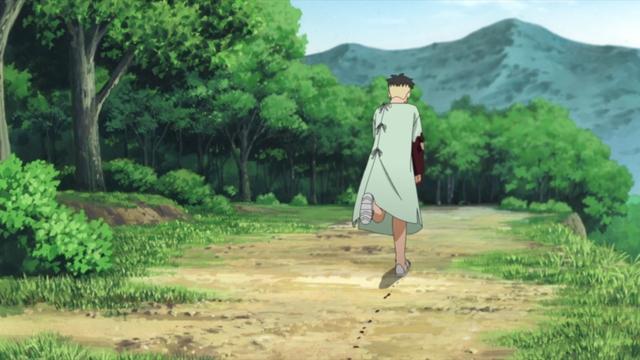 Kawaki escaping from the facility from the anime series Boruto: Naruto Next Generations