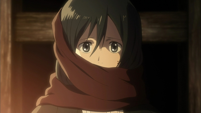 Mikasa wearing her (Eren's) scarf from the sixth episode of the Attack on Titan anime