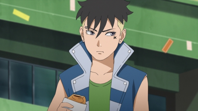 Kawaki eating taiyaki from the anime series Boruto: Naruto Next Generations