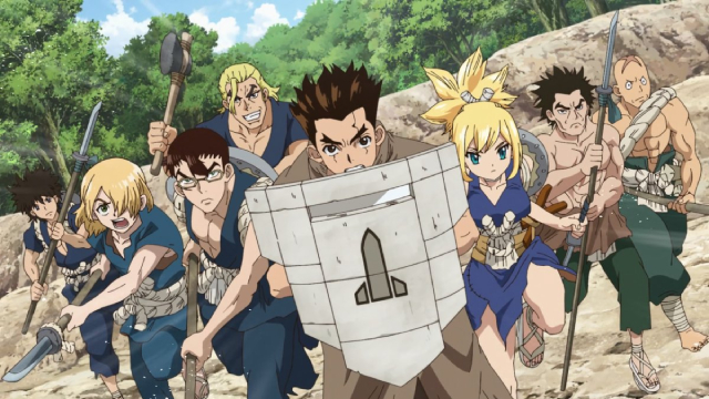 The Kingdom of Science launching their attack from the anime series Dr. Stone: Stone Wars