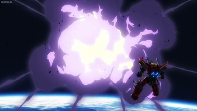 Dynazenon destroying a Kaiju in space from the anime series SSSS.Dynazenon