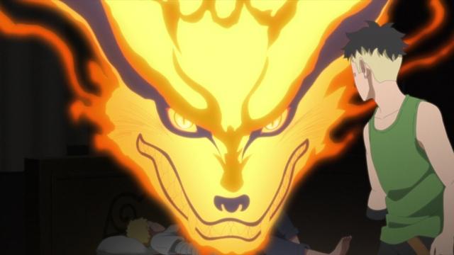 Kurama revealing himself to Kawaki from the anime series Boruto: Naruto Next Generations