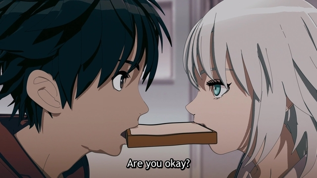 Akira asking Alma if she's okay from the anime series Ex-Arm