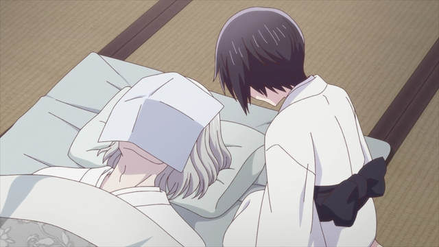 Akito mourning the death of her father from the anime series Fruits Basket The Final Season