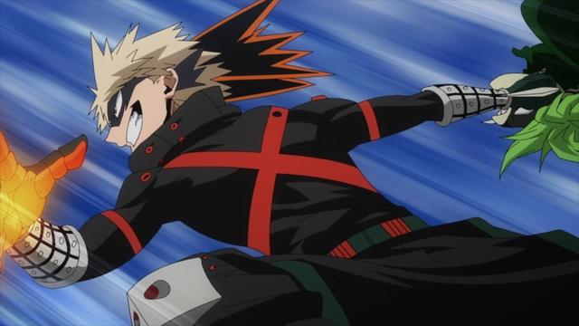 Bakugo throwing Togaru from the anime series My Hero Academia Season 5