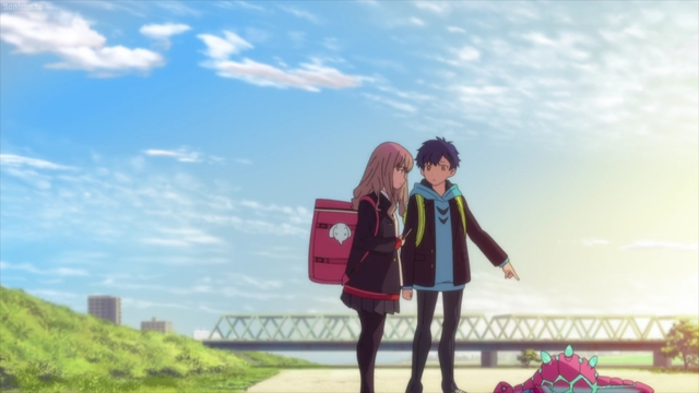 Yomogi showing Yume the baby Kaiju from the anime series SSSS.Dynazenon