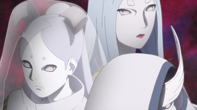 Kaguya, Momoshiki, and Kinshiki from the anime series Boruto: Naruto Next Generations
